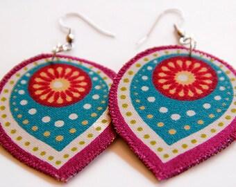 Maroon boho earrings, teardrop dangle earrings, boho chic jewelry, lightweight gypsy earring, eclectic hippie earring, colorful statement