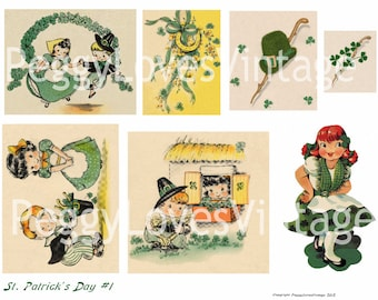 St Patricks Day 1 Digital Collage from Vintage Greeting Cards - Instant Download