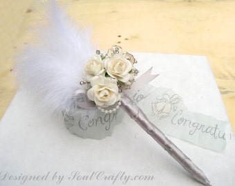 Wedding Guest book pen - Gatsby Wedding - Cottage Chic Wedding - Cream Blue Pink Red Mulberry Paper Roses Wedding Guestbook Pen
