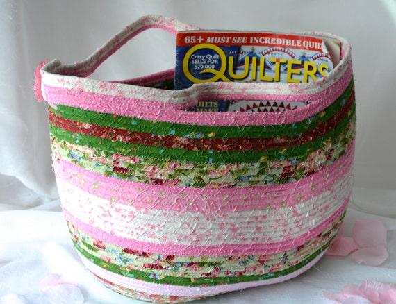Textile Art Basket, Artisan Quilted Tote Bag, Handmade Coiled Fabric Basket, Shabby Chic Moses Basket, Storage Organizer, Handled Basket