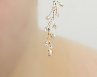 Delicate Freshwater Pearl and Crystal Dangle Earrings