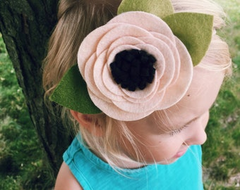 Felt Headband, Felt Flower Headband, Anemone, Flower Headband, Baby Girl, Newborn