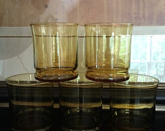 Libbey Capri Gold Glasses Amber Drinking Glassware Vintage Set 5 - #D2325