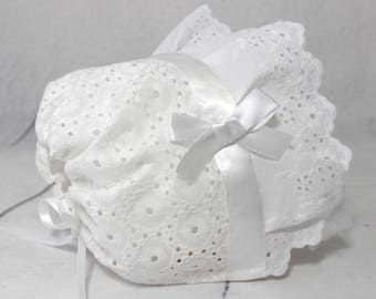 Baptism Baby Bonnet, Eyelet Baby Bonnet with Ruffle, White, Christening Baby Girl, Newborn