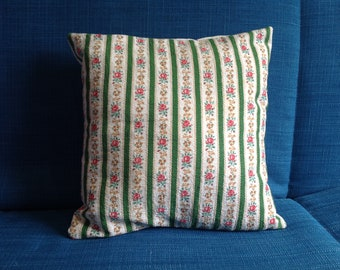 """Handmade scatter cushion, pretty 1950s original fabric, 13"""" square, pad included, made with vintage barkcloth fabric"""