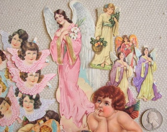 Vintage Angel PAPER DOLL Cut Outs -- 1940s and 1950s paper angels and heavenly hosts, child's toy, scrapbooking paper craft supply