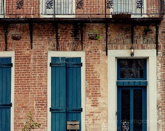 new orleans photography blue home decor french quarter art door phtoography architecture art brick decor