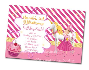 Pinkalicious birthday  Invitations - printable - DIY - digital file (P03)