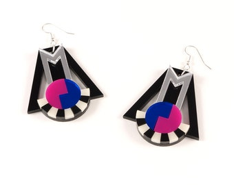 Geometric Perspex Statement Earrings - Silver, Blue, Pink FORM_018