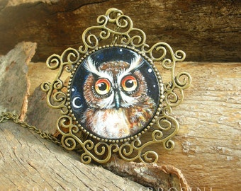OWL..original painting necklace.... Handpainted Vintage Style Frame ....