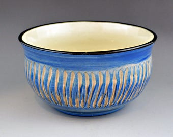 Medium  Blue Small Serving  Bowl with Sgrafitto  Design - Cereal - Dessert  - Trinket Dish