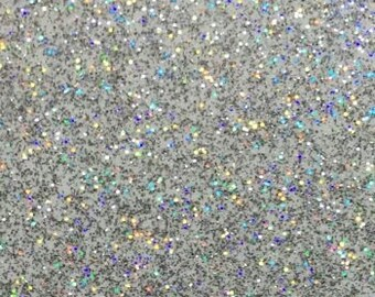 """12"""" TRANSPARENT Silver Rainbow Holographic Adhesive GLITTER Vinyl, Permanent Indoor/Outdoor 5 yr. Life - Choose Length"""