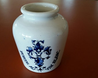 Grey Poupon Vintage Mustard Jar Blue and White Ceramic Mint Condition!