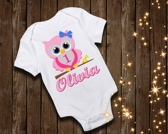 baby owl birthday shirt first birthday shirt custom shirt