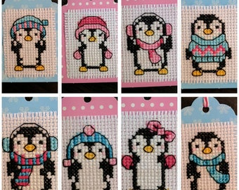 Set of eight cross stitch penguin gift tags