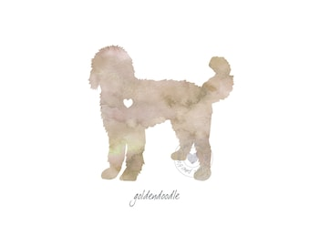 Goldendoodle Dog Watercolor Painting Digital Art Print Silhouette Custom Wall Decor, Home, Office, Nursery, Room Decor