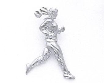 Sterling Silver Lady Runner Pendant, Marathon Runner, Marathon Jewelry, Runner Jewelry, Marathon