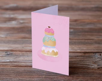 Grand Budapest Hotel Mendl's Cake A6 Greeting Card