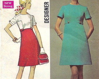 "1969 Misses Dress ""Designer Fashion"" Pattern, Simplicity 8486, Size 10, Bust 32.5"
