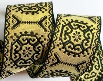 """Woven  Ribbon  3 yards x 1 1/16""""  Black and Gold Metx127a"""