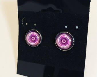 Purple psychedelic swirled Earrings