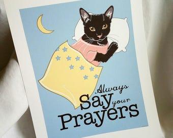 Praying Black Cat - 7x9 Eco-friendly Print