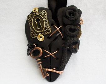 Necklace Broken Heart Polymer Clay Snake