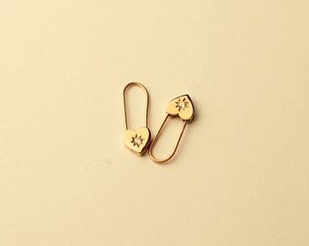Heart Safety Pin / North Star Safety Pin