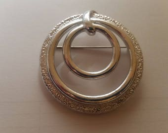 Round Silver-tone Brooch