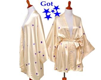 Off-white kimono, Bridal beige kimono, classic satin robe, beige cardigan, wedding kimono, honeymoon kimono, trendy white kimono,