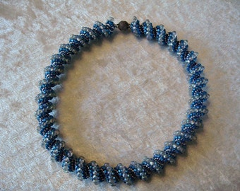 "SALE Shades of Blue and Silver Spiral Peyote Stitch Neckace Beadwork Seed Beads Cellini 17"" OOAK UNIQUE"