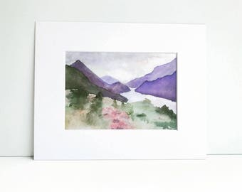 Abstract Landscape Watercolor Painting Print, Woodland Decor, Watercolor Print, Watercolor Decor