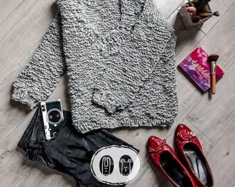 Knit sweater pullover sweatshirt woman lady alaca merinos handmade