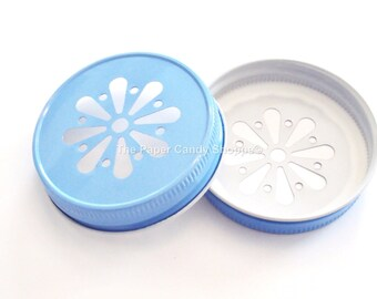 Daisy Lids, Daisy Cut Mason Jar Lids, Baby Blue, light Blue Daisy Lids, Wedding, Baby Shower, Rustic, Vintage, Gender Reveal baby Shower USA