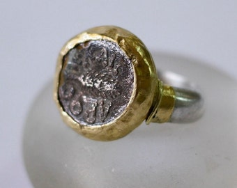 Ancient Coin Ring, Silver and Gold Coin Ring, Ancient Jewelry, Gold and Silver Ring, Chunky Silver Ring, Old Coin Ring, Silver Coin Ring