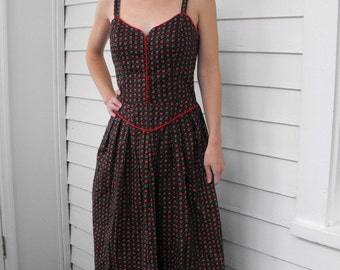 Lanz Dress Black Print Floral Vintage Boho Prairie Summer Sundress 70s S
