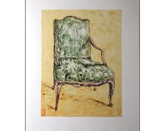 Furniture Art - Furniture Art - Chair portrait - Fauteuil -  Open Arm Upholstered  Chair - Furniture Still Life - Wall Art - Home Decor