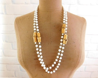 Vintage  milk glass and  bamboo bead flapper necklace