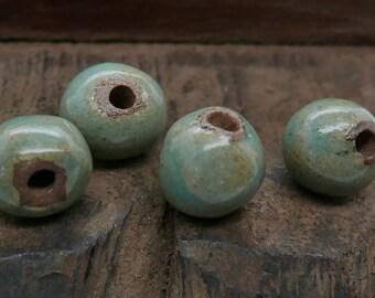 Stoneware Round Beads Brown Aqua Blue Handmade Pottery