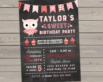 pink owl birthday invitation printable, valentines birthday invites, sweet hearts cupcakes, kids party invitations digital