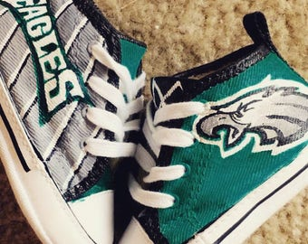 Eagles Converse, Eagles painted shoes, Custom Vans, Painted Vans, Philadelphia Eagles vans shoes, hand painted shoes, painted toms, van shoe
