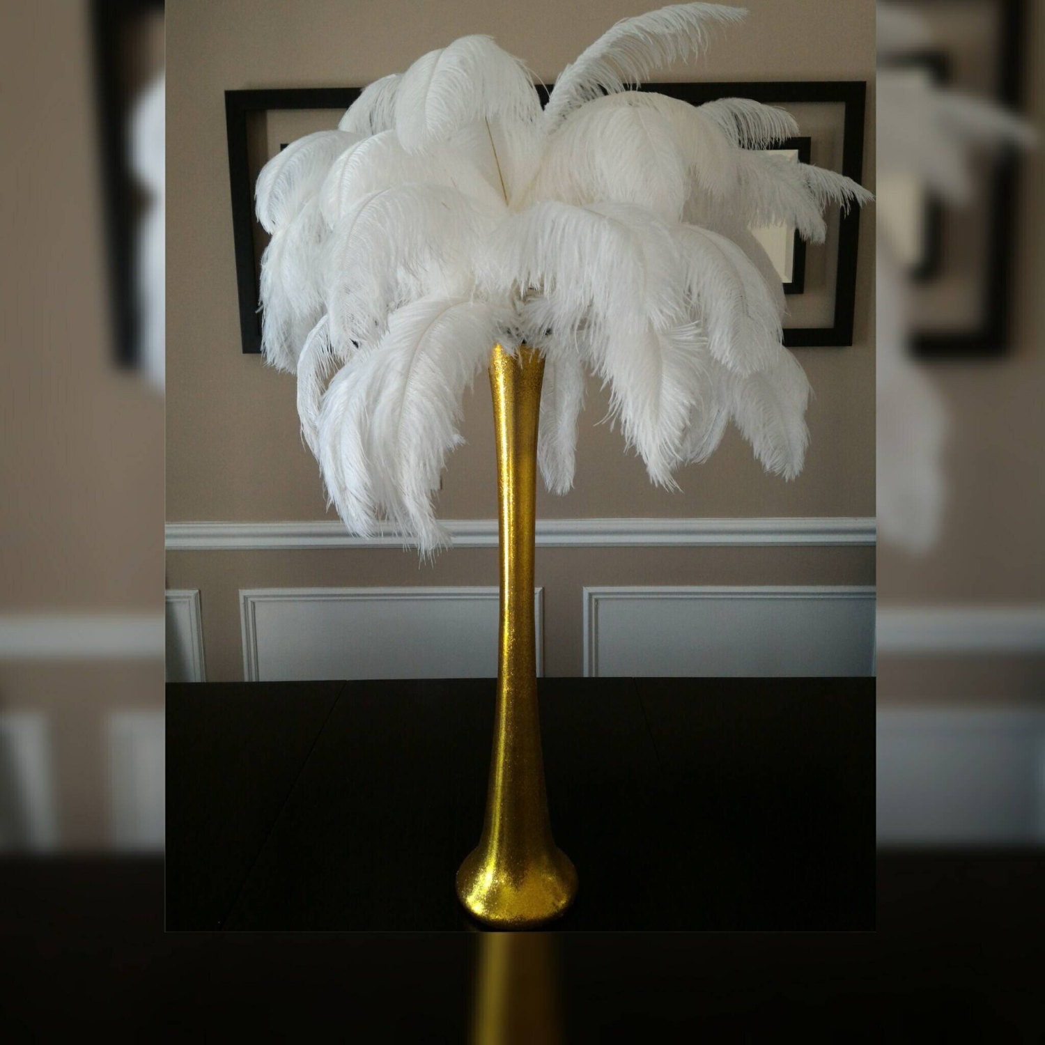 Gold ostrich feather centerpiece kits with 24 gold zoom reviewsmspy