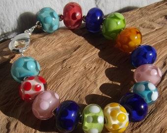 Bracelet Polka Dots glass beads Jewelry