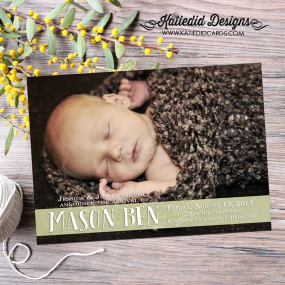 birth announcement grandparent baby photo picture boy girl twins welcome sprinkle sip see brunch ultrasound invitation | 424 Katiedid design