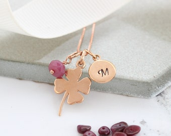 Good Luck Necklace – Good Luck Gifts – 4 Leaf Clover Necklace – Personalised Necklace – Ruby Birthstone Necklace - Rose Gold Necklace