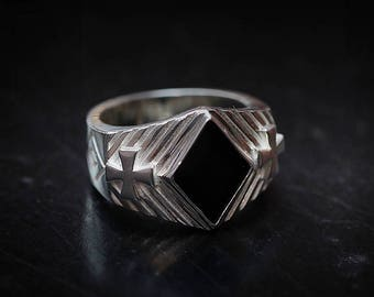 Diamond Shape Ring | Silver Diamond Ring | Black Onyx Ring Mens Gemstone| Diamond Gemstone Ring Gambling Jewelry Casino | Geometry Ring Mens