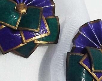 Vintage large fan shaped paper earrings for pierced ears
