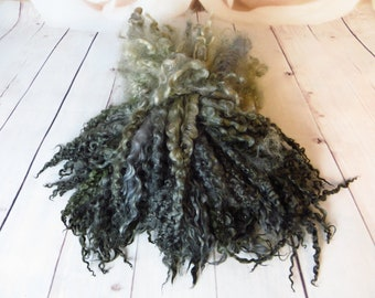 Teeswater -Masham Blend Curls Blue Gray Locks Spinning Doll Smokey Gray Hair Felting Wool Longwool Fiber Art  28-32m 50/ 100 gr
