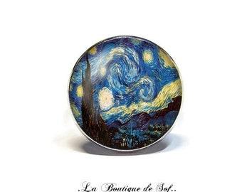 Adjustable ring with cabochon 18 mm * Van Gogh * (100218)