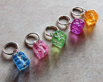 Lucky Dice retro stitch marker set 80s pink purple blue green orange